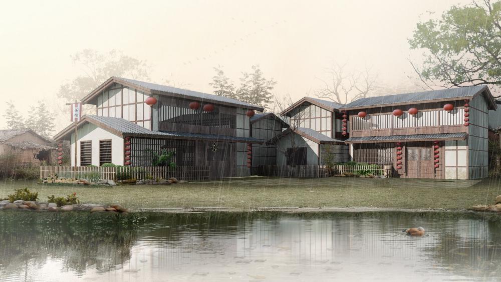 3D lakeside house in the rain wallpaper
