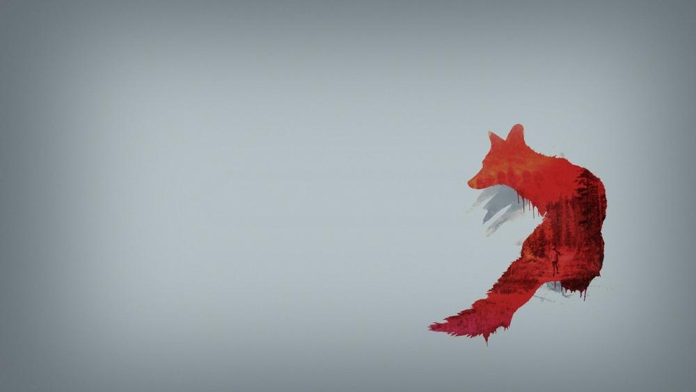 Red fox Double exposure wallpaper