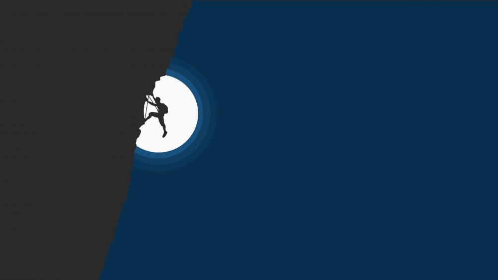 Night climbing at full moon minimal art wallpaper