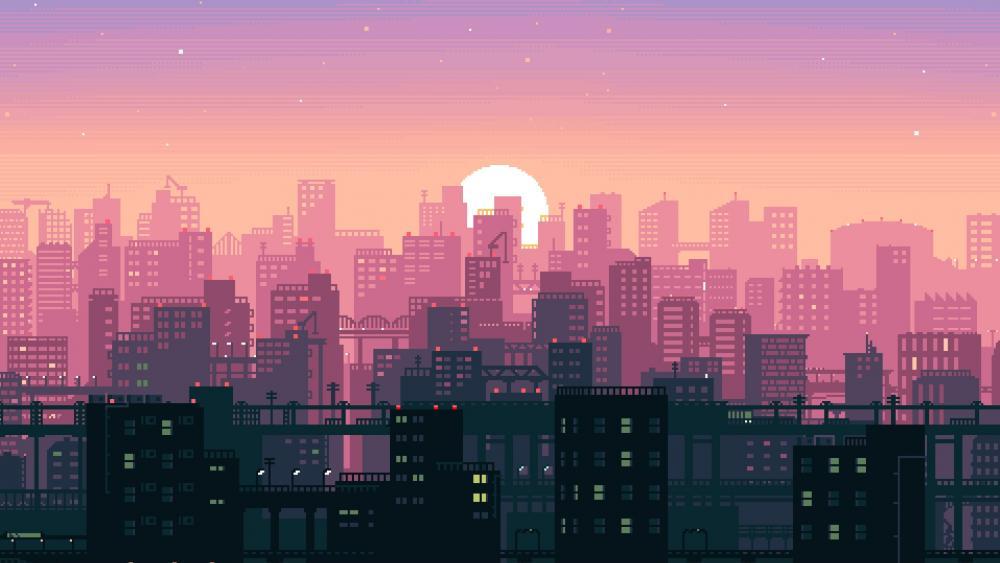 Pink city - Pixel art wallpaper