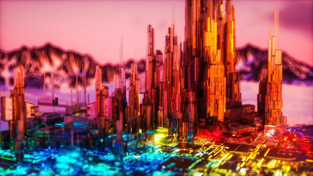 3D fantasy cityscape wallpaper