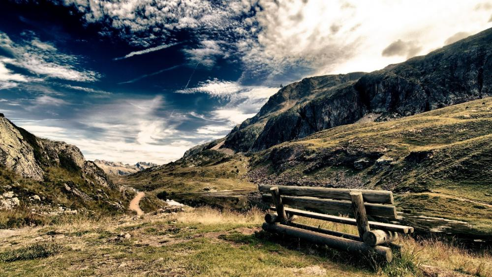 Bench on the mountain wallpaper