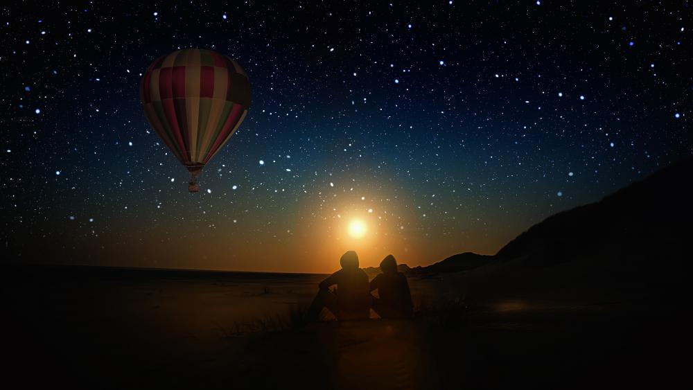 Hot air balloon on the starry night sky wallpaper
