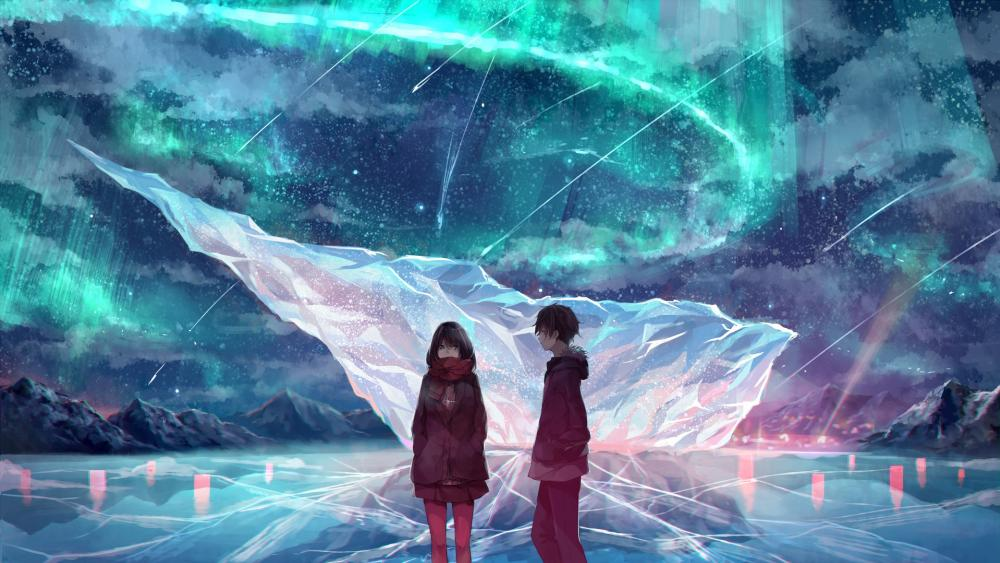 Anime girl and boy under the polar lights wallpaper