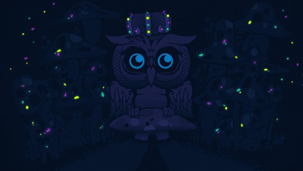Owl on a mushroom wallpaper