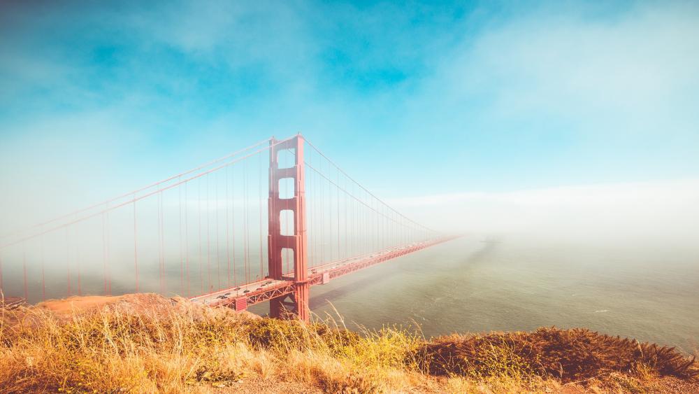Golden Gate Bridge in mist wallpaper