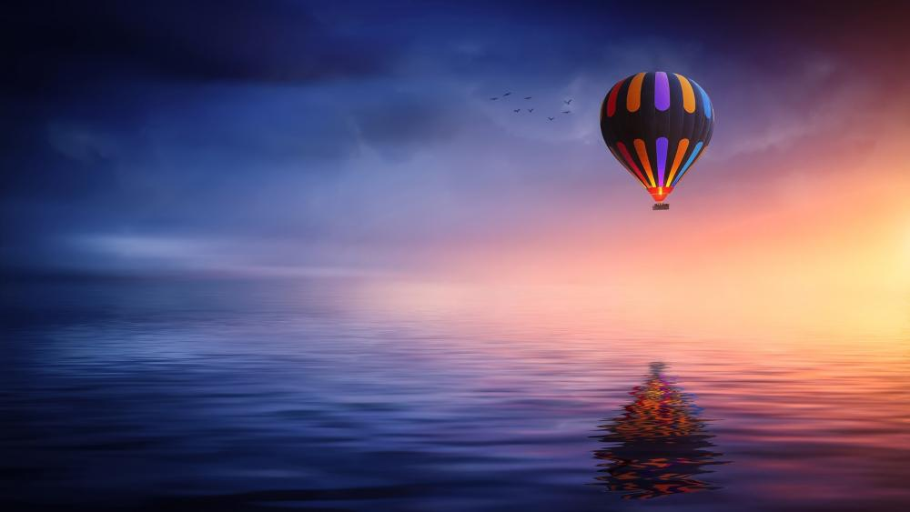 Hot air balloon on the dark sky wallpaper