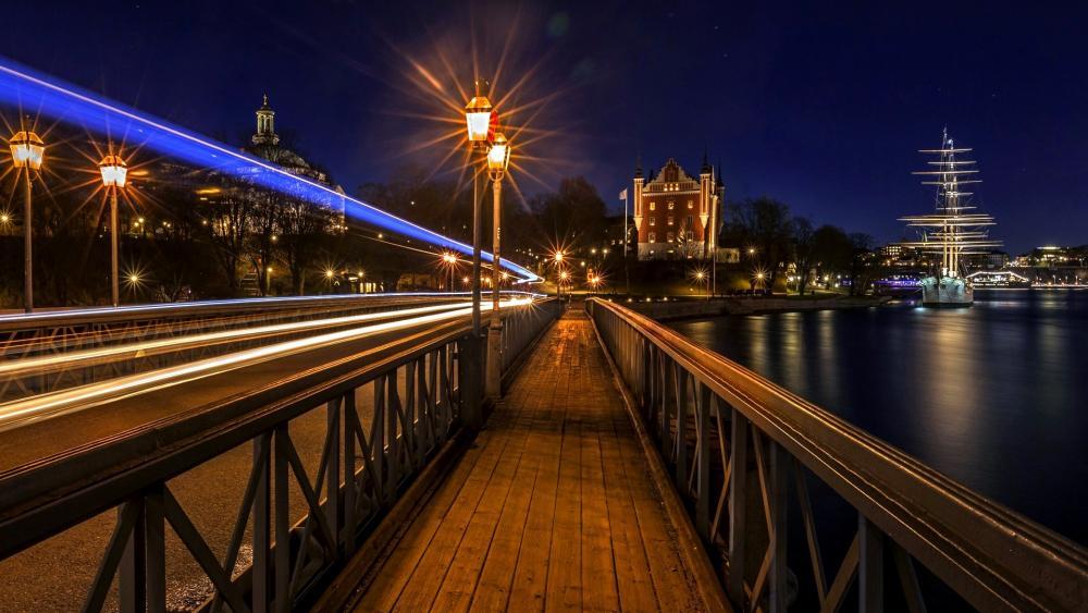 Walkway In Stockholm at night wallpaper
