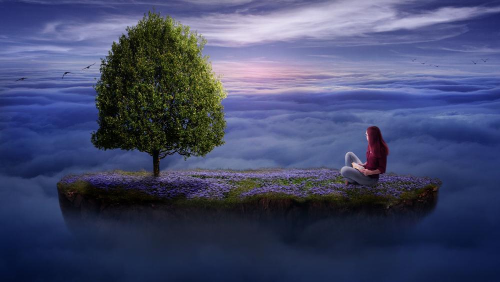 Lone girl on a floating island in heaven wallpaper