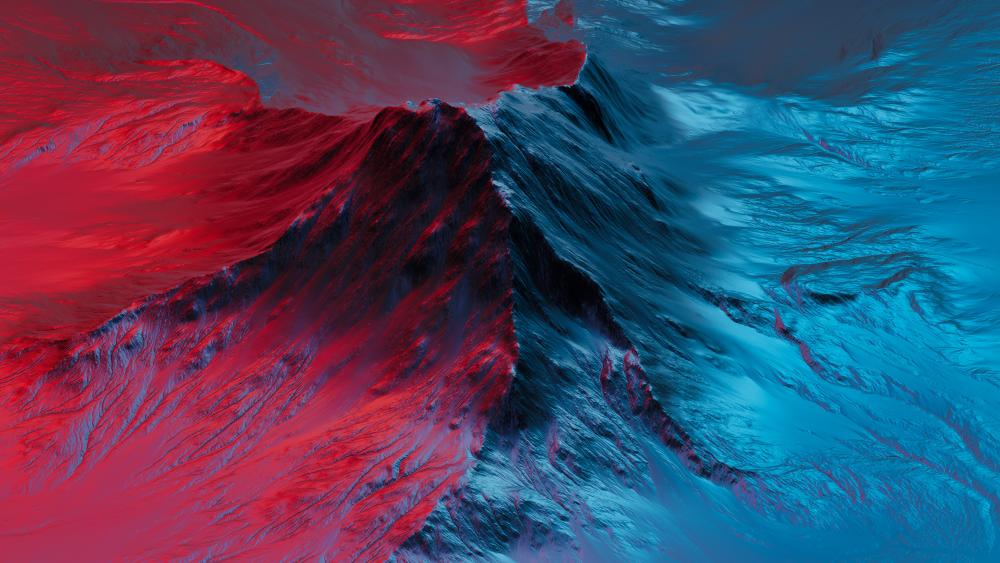 Red and blue iron mountain, Digital Art wallpaper
