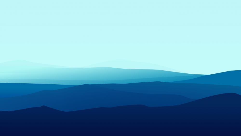 Blue gradient minimalist mountains wallpaper