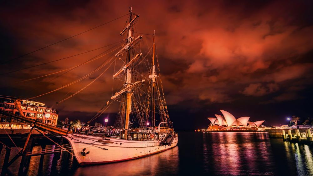 Port Jackson under the red night sky wallpaper