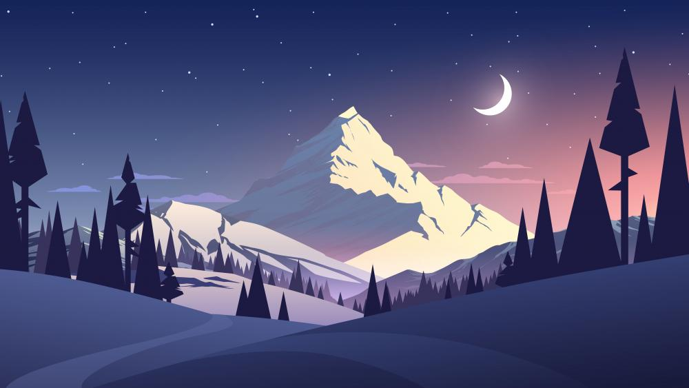Winter landscape minimalist digital art wallpaper