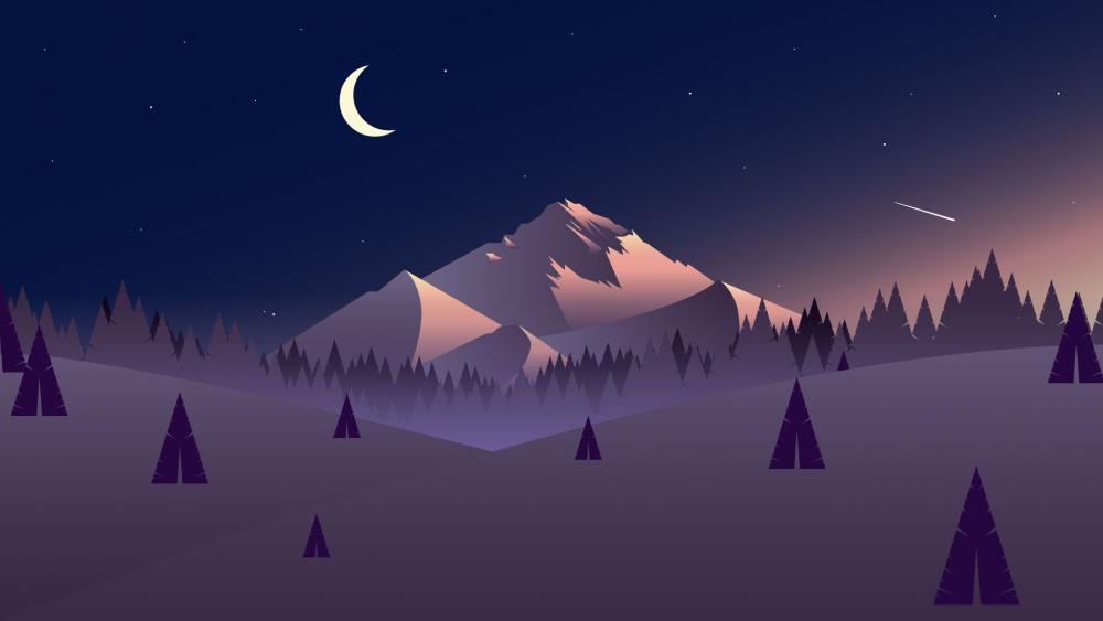 Purple winter minimal landscape wallpaper