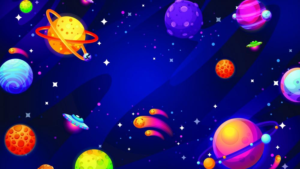 Colorful planets wallpaper