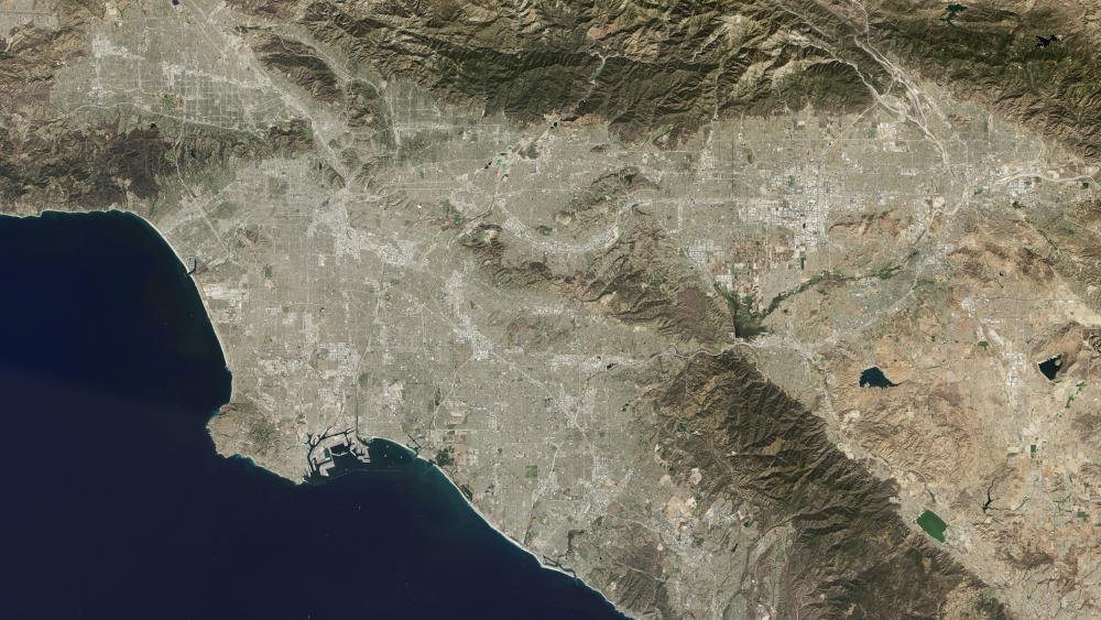 Satellite Image of Los Angeles wallpaper