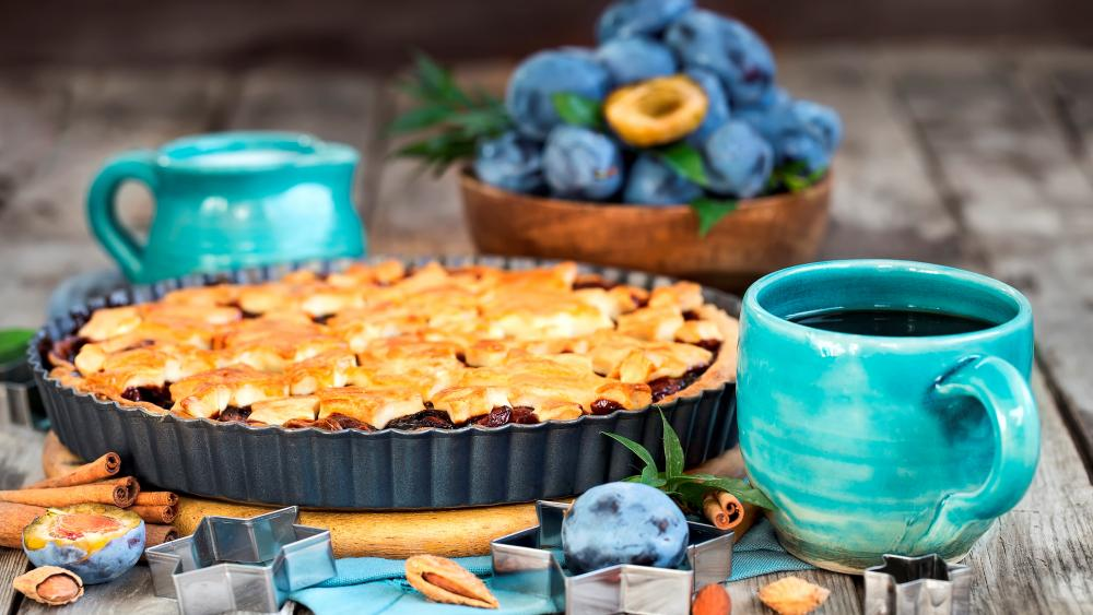 Plum pie with coffee wallpaper