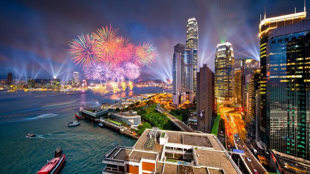 Hong Kong fireworks wallpaper