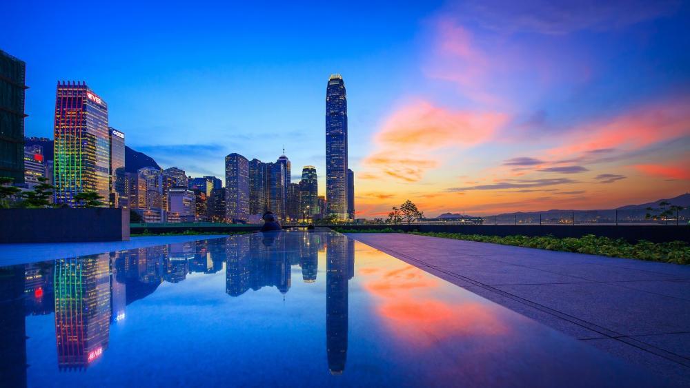 Hong Kong reflection wallpaper
