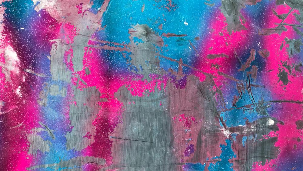 Pink, blue, and grey abstract painting wallpaper