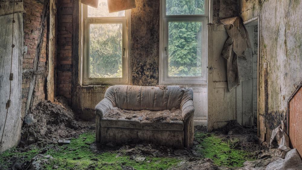 Abandoned living room wallpaper