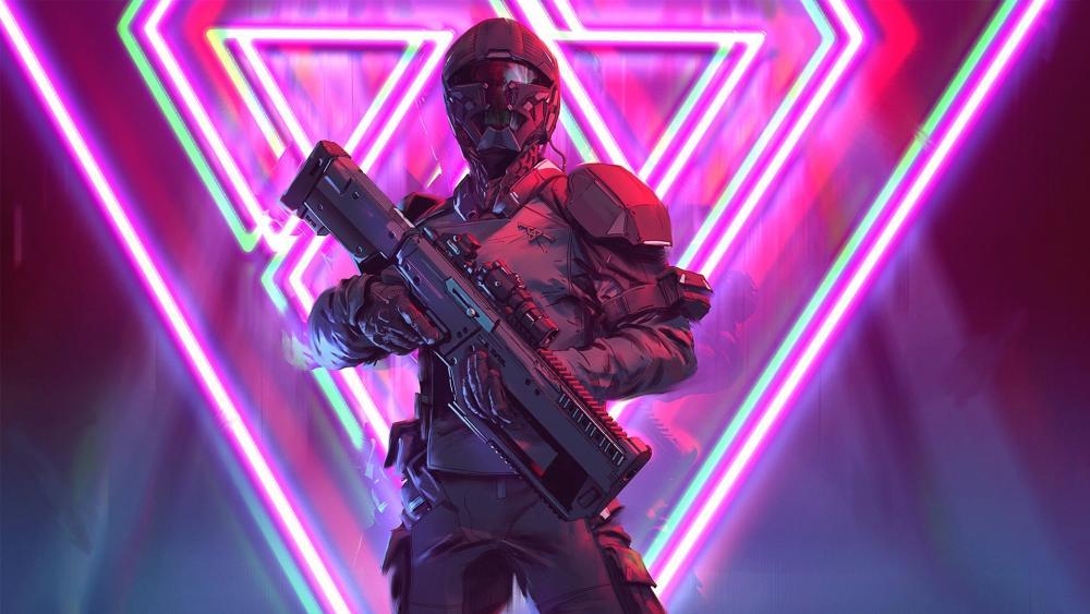 Neon soldier wallpaper
