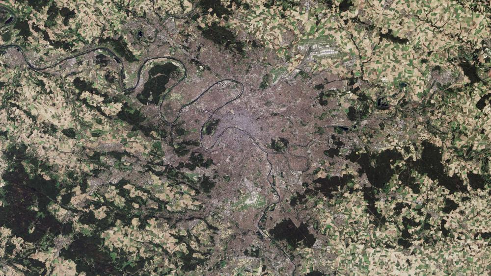 Satellite Image of Paris wallpaper