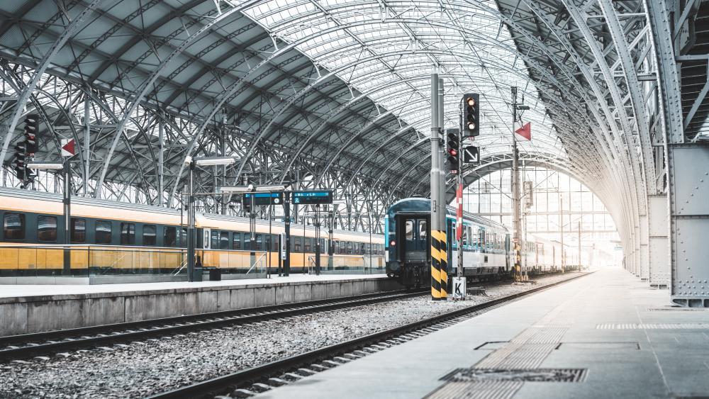 Old train station in Prague wallpaper