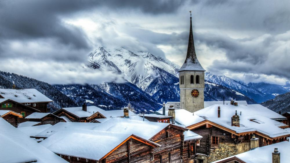 Mountain village in Switzerland wallpaper