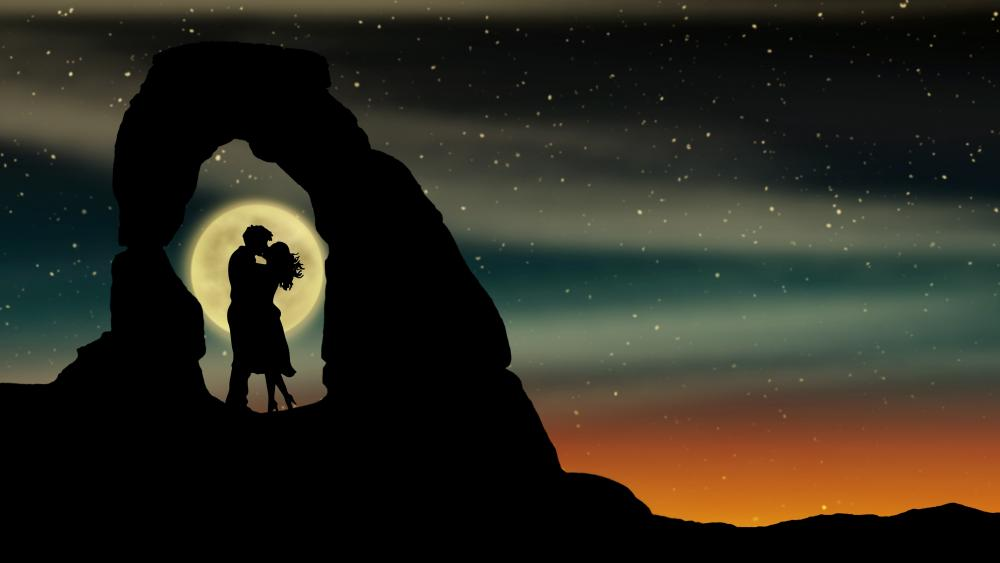 Kissing at full moon wallpaper