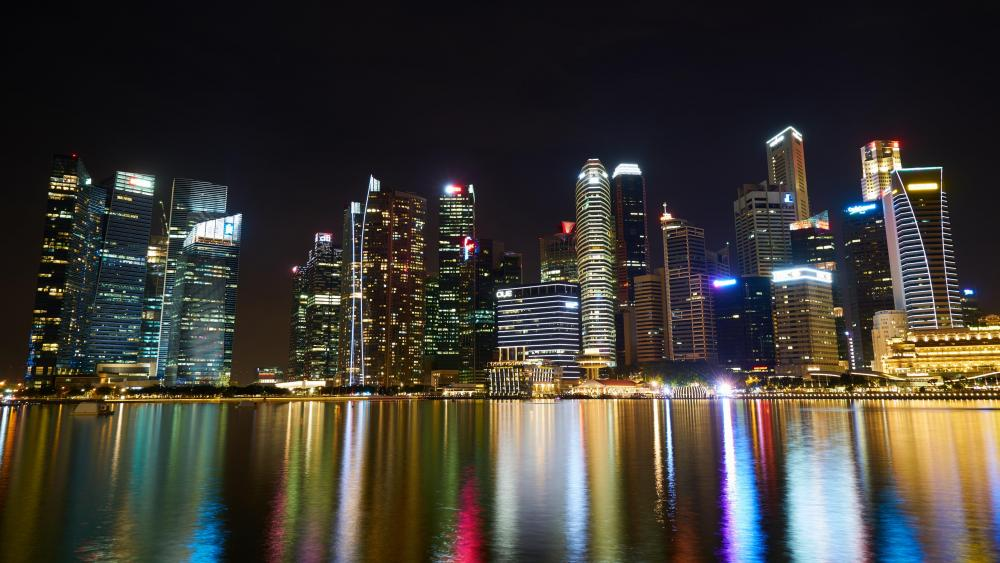 Singapore City Lights at Night wallpaper