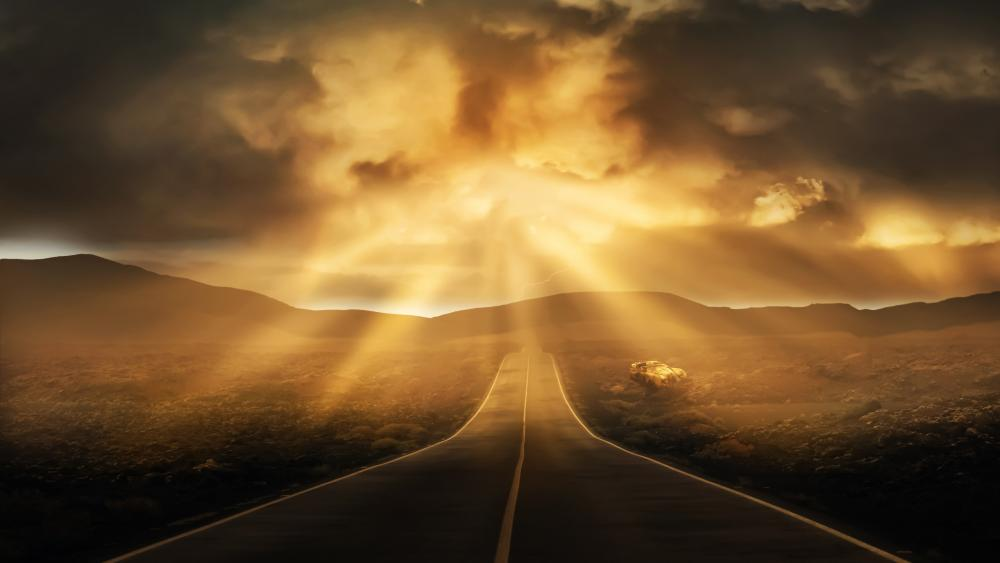Sunbeams in the clouds wallpaper
