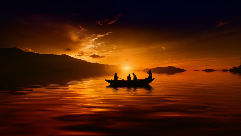 Unforgettable sunset from a boat with friends wallpaper