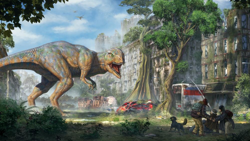 Apocalyptic dinosaur invasion wallpaper