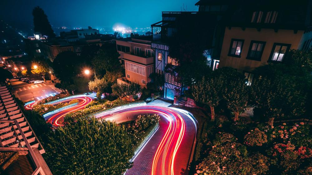 Curvy Road Long Exposure Photography wallpaper