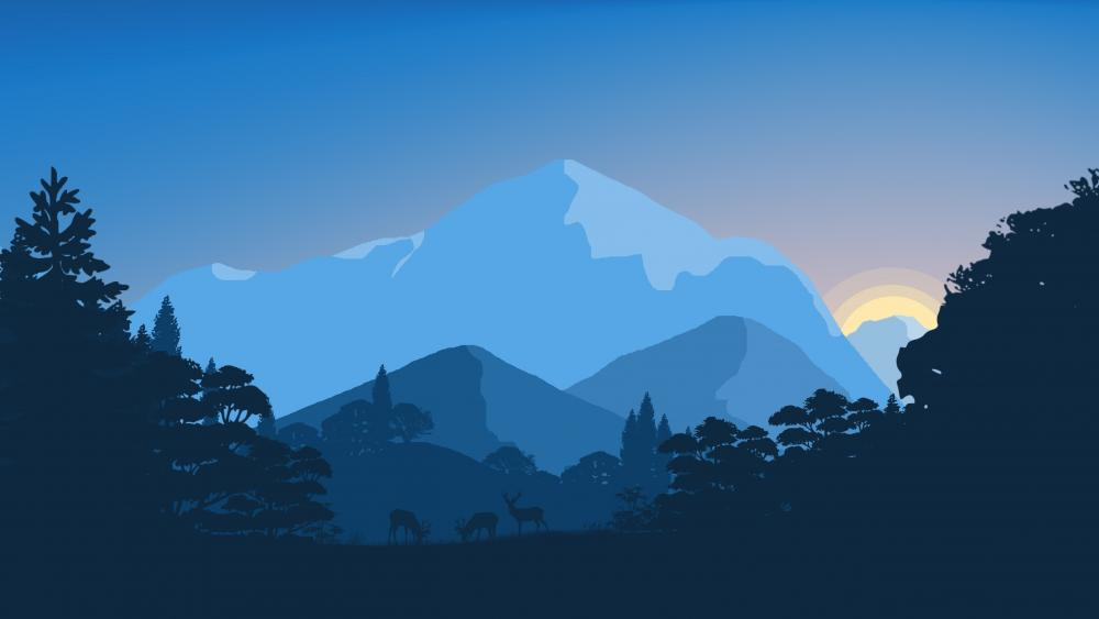 Blue fantasy minimal landscape wallpaper