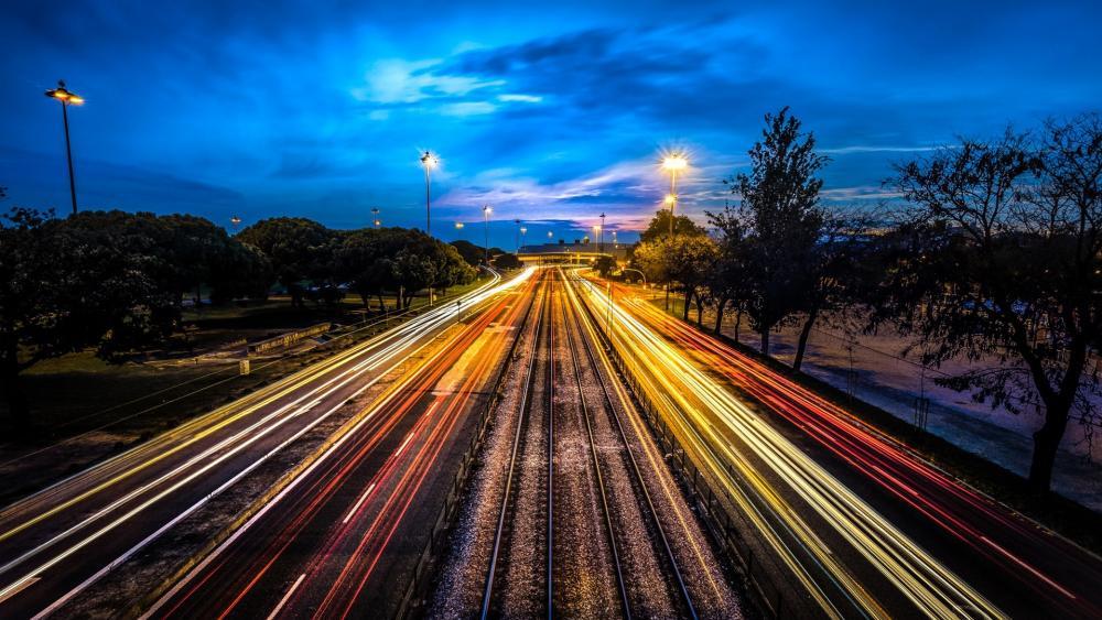 Road by night (Lisbon, Portugal) wallpaper