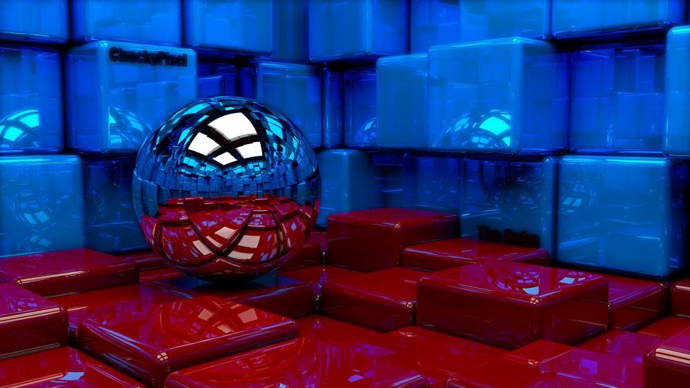 3D Metal ball wallpaper
