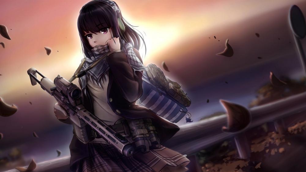 Girl with gun anime art wallpaper