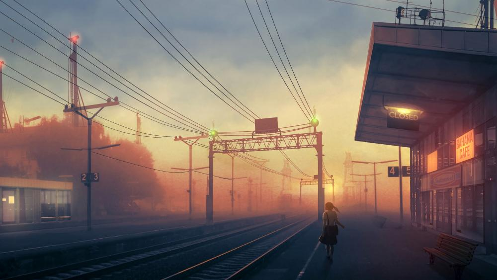 Railway station anime art wallpaper