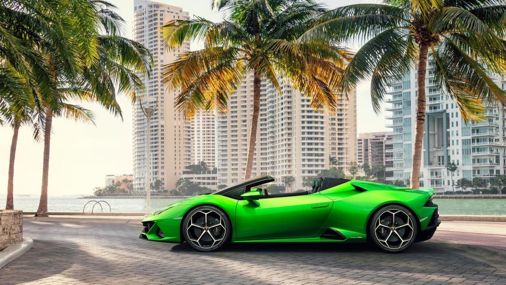 Green Lamborghini Huracan EVO Spyder wallpaper