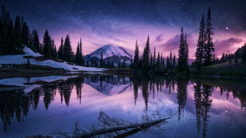 Tipsoo Lake on a winter night wallpaper