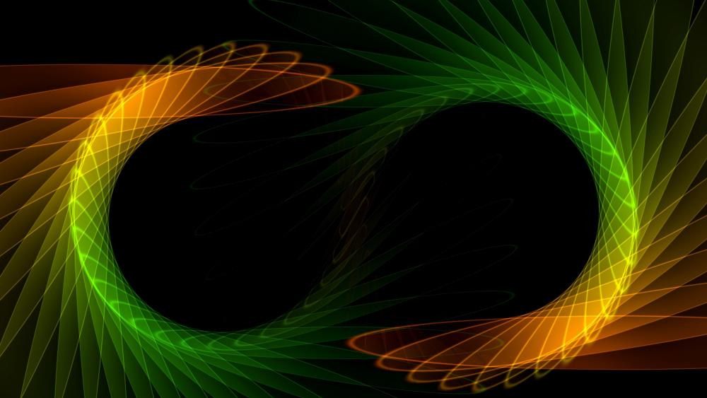 Rotating green and orange graphics wallpaper