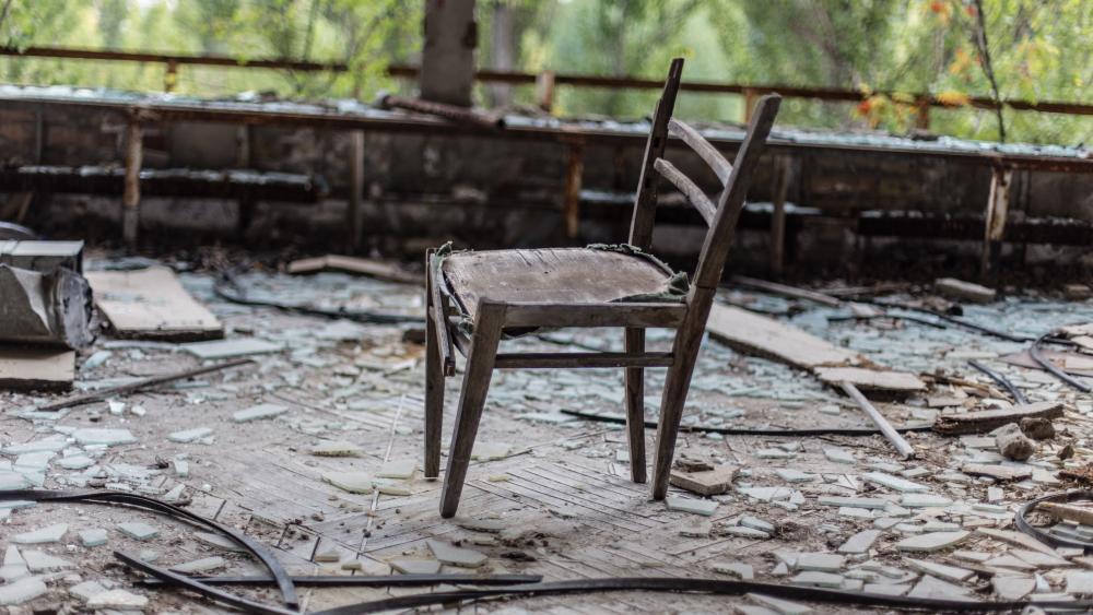 Old chair in Chernobyl wallpaper