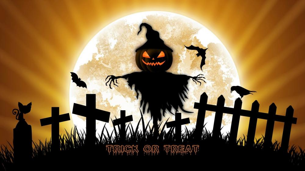 Trick or treat scarecrow wallpaper