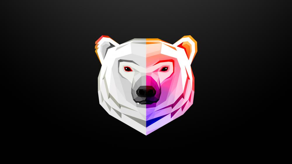 Polar bear head digital art wallpaper
