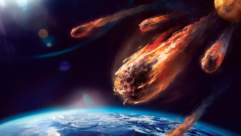 Meteorites in the Universe Space Art wallpaper