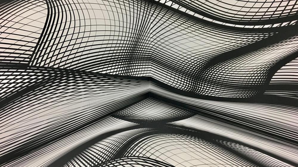 Monochrome 3D grid wallpaper