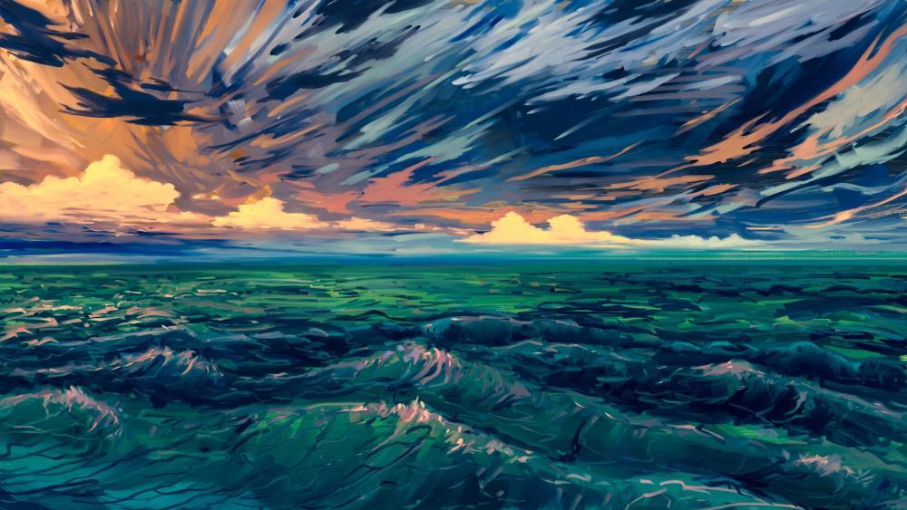 Stormy sea digital painting wallpaper