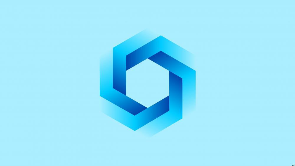 Blue hexagon material design wallpaper